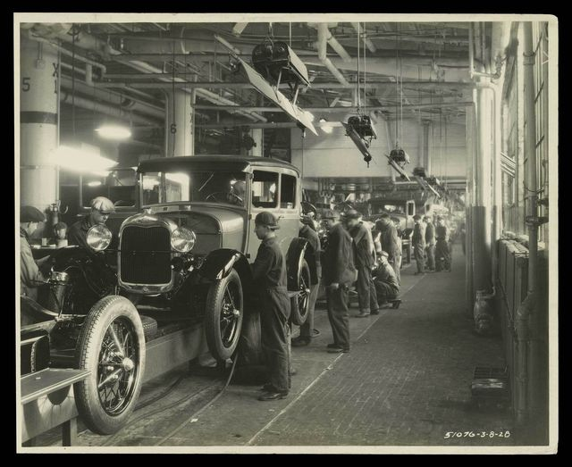 The 1928 Model A was the first automobile completely built at the Rouge, Ford Motor Company's giant factory complex outside Detroit.