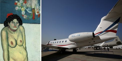 Left: Pablo Picasso, La Gommeuse, 1901. Right: The fastest private jet on the market.