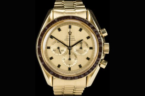 This 18k gold Omega Speedmaster belonged to an actual astronaut, though it didn't go to space.