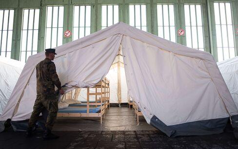 Refugee housing in Tempelhof Airport