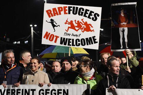 Russian speakers protest in Leipzig on Jan. 11.