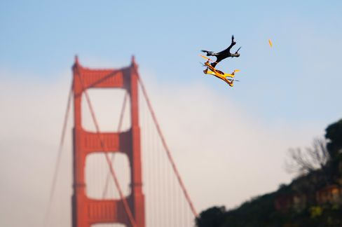Drones fly during a demonstration in Sausalito, Calif., on June 9, 2014.