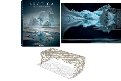 Pictured: Sebastian Copeland's striking Arctic landscapes (top); a recyclable steel coffee table by designer Chris Kabatsi.