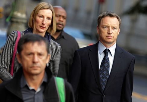 Anthony Allen, a former London-based Rabobank Groep trader, right, arrives at federal court in New York, on Oct. 13, 2015.