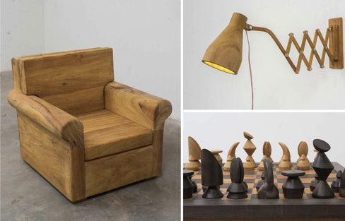 Lamp, Chair, and Chess Set, by Jose Bento.