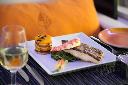 In-flight dining option: pan-seared branzino with lobster
