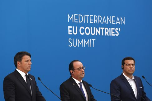 Matteo Renzi, Francois Hollande and Alexis Tsipras at the summit on Sept. 9.