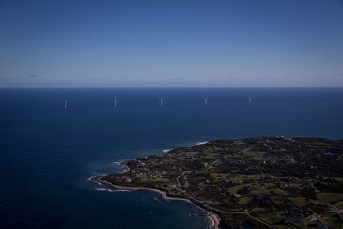 The Block Island Wind Farm above Block Island, Rhode Island.