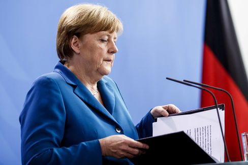 Angela Merkel gives a statement following the shootings on July 23.