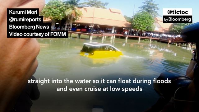 Deadly 2011 Tsunami Inspires One Man to Build Floating Electric Car on floating golf game, floating golf hole, floating van, floating generator, floating tank, floating utv, floating golf green,