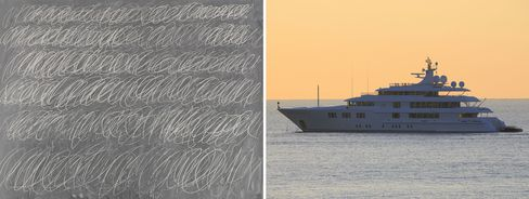 Left: Cy Twombly, Untitled (New York City), 1968. Right: The owner of the Washington Redskins, Dan Snyder, reportedly paid 70 million for this super yacht in 2011.