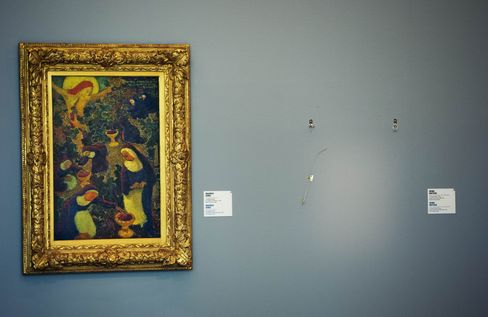 The empty wallspace where a painting by Henri Matisse was stolen during a robbery at the Kunsthal Museum in Rotterdam.