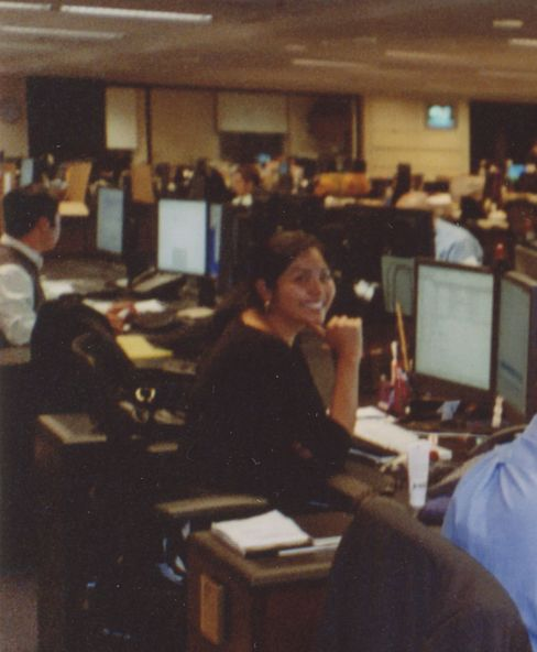 In 2007, at her desk at Goldman after a long night.