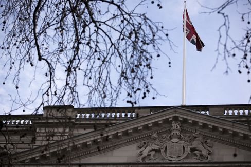 A Union flag flies Above the Treasury in London