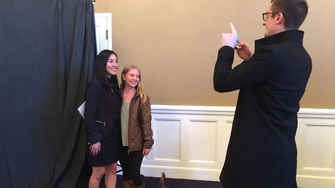 Cassie Kemmerlin poses for a photo with Hillary Clinton surrogate Michelle Kwan at Presbyterian College in Clinton, South Carolina, on Feb. 18, 2016.