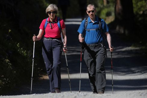 British Prime Minister Theresa May On Holiday In The Alps