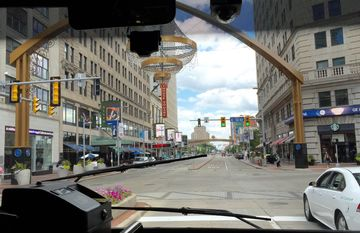 The view from the front of the Healthline bus, heading east past Playhouse Square.