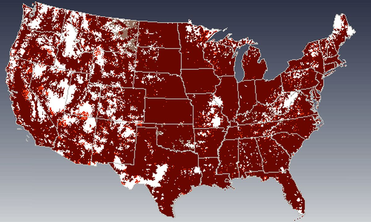 Googles New Phone Service Has A Coverage Map Thats Practically - Verizon cell phone coverage map