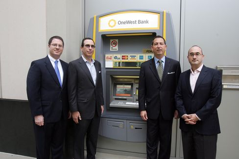 Mnuchin (second from left) in 2011 with executives of OneWest, the bank he bought.