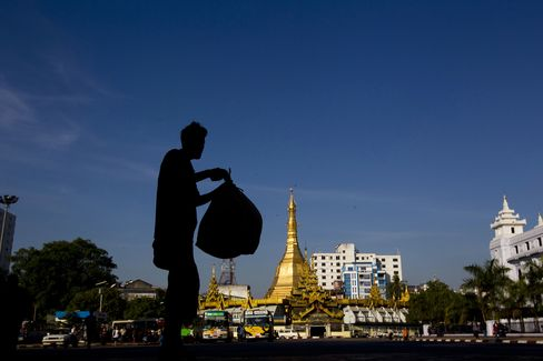 Sule Pagoda stands in Yangon