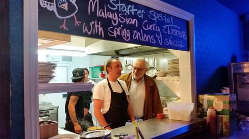 Chick 'n' Sours founder Carl Clarke welcomes Pierre Koffmann to his tiny kitchen.