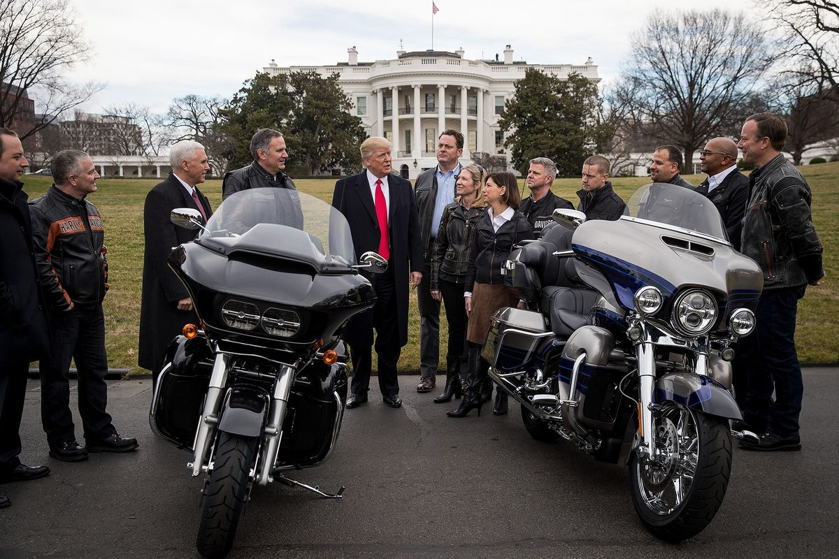 trump welcomes harley-davidson in latest white house session