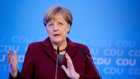 Angela Merkel,  speaks during a news conference in Mainz. Photographer: Fredrik von Erichsen/dpa via AP