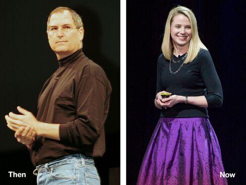 L-R: Steve Jobs, 2000; Marissa Mayer, 2015