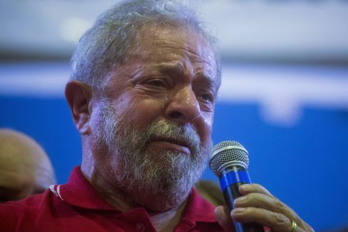 Lula da Silva weeps during a rally on March 4 in Sao Paulo.