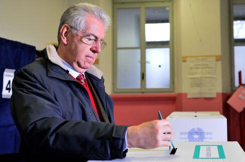 Outgoing Italian Prime Minister Mario Monti