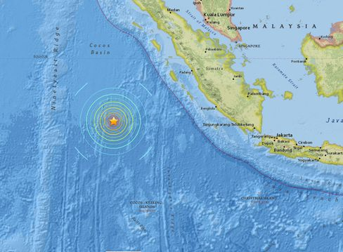 The U.S. Geological Survey said the epicenter was about 500 miles west-southwest of Padang, Indonesia and 529 miles north-northwest of the Cocos Islands.