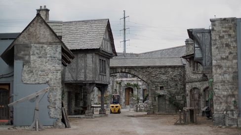 A medieval town is set up in the back-lot of Cinespace Studios
