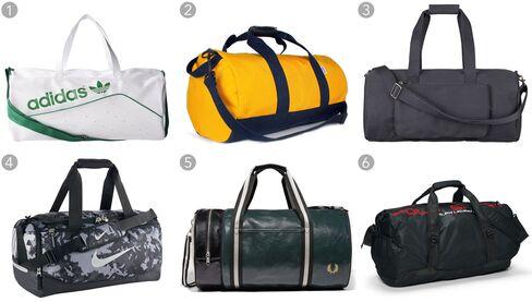 "(1) Perforated duffel bag, Adidas $45.99, adidas.com; (2) gold and navy ""Stay Sharp"" duffel, Owen & Fred $115, owenandfred.com; (3) campus bag, A.P.C. $235, apc.fr; (4) Team Training Max Air, Nike $44.97, nike.com; (5) classic barrel bag, Fred Perry $90, fredperry.com; (6) nylon sport duffel, Polo Sport $125, ralphlauren.com"