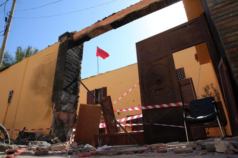 The damaged Moroccan embassy headquarters after unknown assailants have launched two rocket propelled grenades (RPGs) in Libyan capital Tripoli on April 13, 2015.