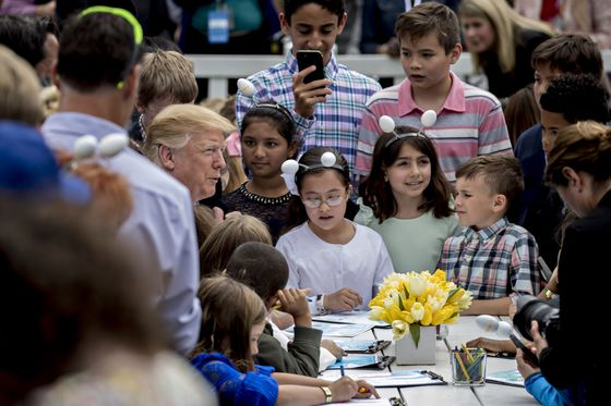 Trump Touts Border Wall to Group of Children at Easter Egg Roll