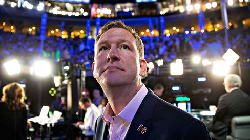 Guy Cecil of Priorities USA appears on the floor during the Democratic National Convention in Philadelphia on July 27, 2016.