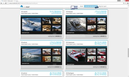 The site is visually driven and makes boat charters feel unpretentious.