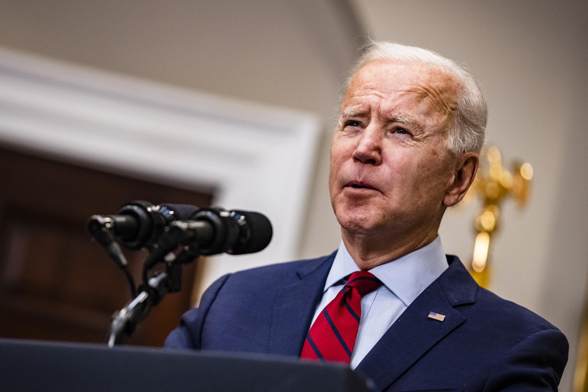 U.S. President Joe Biden speaks in the Roosevelt Room of the White House onFeb. 27, 2021.