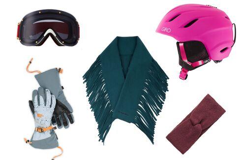 From left: Four ski goggles, YNIQ, $400, net-a-porter.com; Women's revelstoke gloves, The North Face, $60, thenorthface.com; Fringed wool and cashmere-blend scarf, Burberry Prorsum, $699, matchesfashion.com; Matte turquoise helmet, Giro, $100, ridemteverst.com; Knit headband, H&M, $6.99, hm.com.