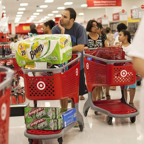 Shoppers push carts