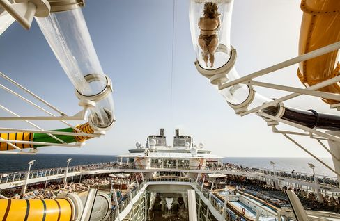 A trio of waterslides collectively called the Perfect Storm look out over the ship's Central Park and pool decks.