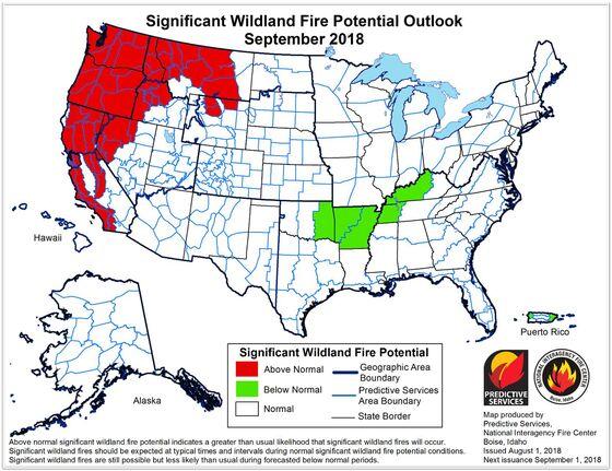 California Fire Risk Won't Abate Until November, U.S. Warns