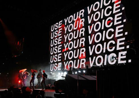 Beyonce performs during a Get Out The Vote concert on Nov. 4.