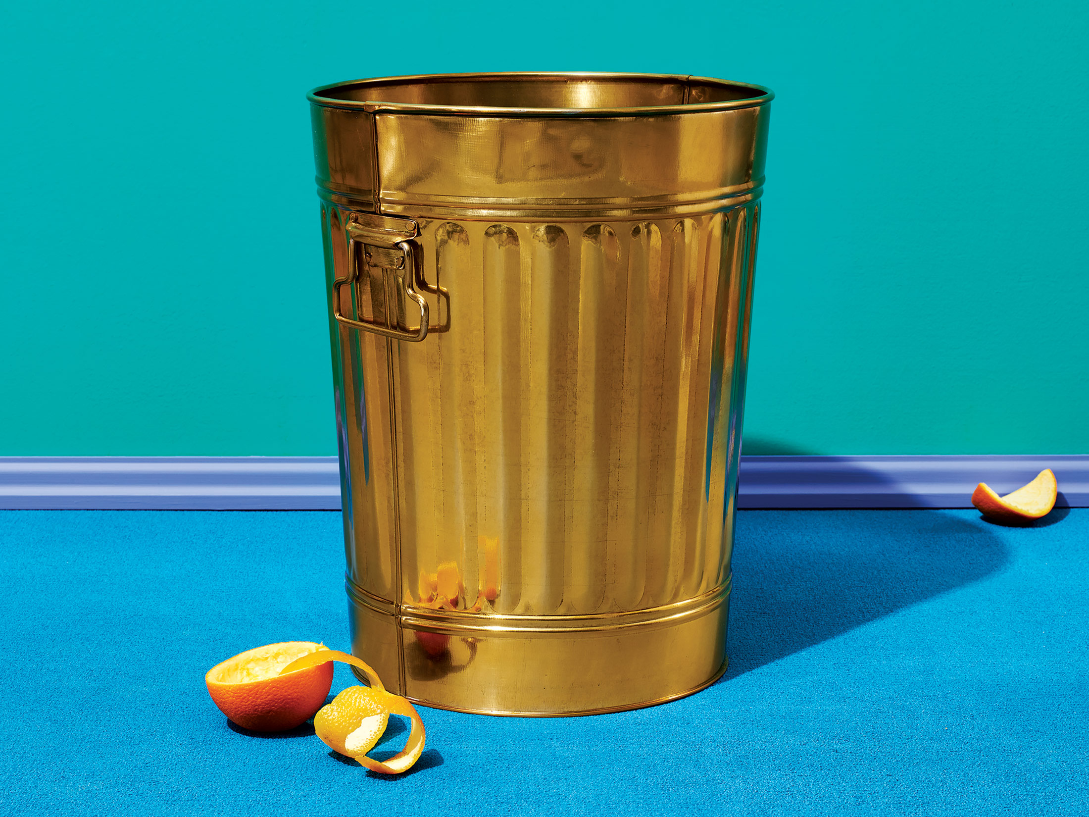 Gold waste can by CB2