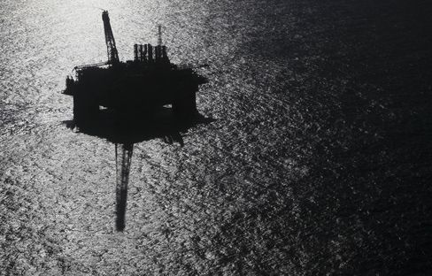 An oil platform stands in deep water off the Brazilian coast.