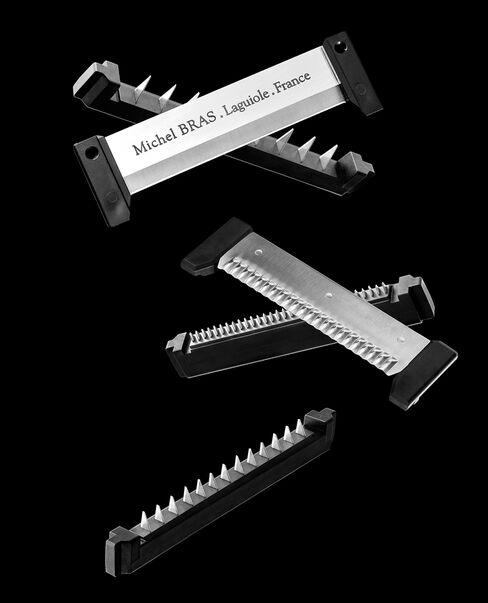 Heavy steel blades that lock into the new Michel Bras mandoline.