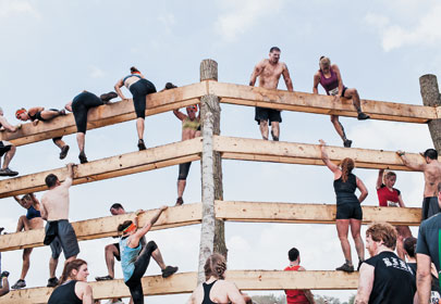 Tough Mudder racers climb high