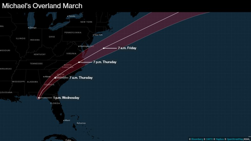 Hurricane Michael At Cat 4 Could Be Strongest To Hit Us In 14 - Us-hurricane-landfall-map