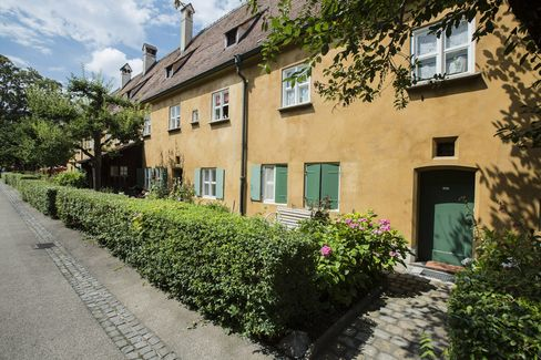 The Fuggerei social housing complex in Augsburg, Germany.