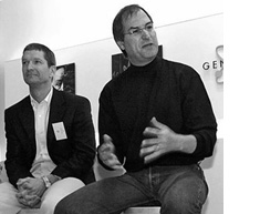 Jobs and Cook in May 2001 at the opening of Apple's first retail stores
